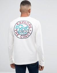 Лонгслив узкого кроя с принтом сзади и логотипом на рукаве Hollister - Белый