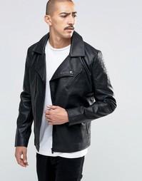 Байкерская куртка из искусственной кожи Troy - Черный