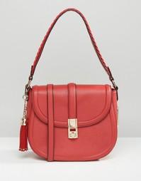 Большая сумка с плетеной отделкой на ремешке Dune - Красный