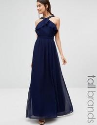 Платье макси с оборками и разрезом до бедра Little Mistress Tall - Темно-синий