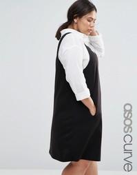 ASOS CURVE Ponte Pinny Shift Dress - Черный