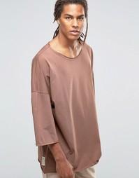 Oversize-футболка с заниженной линией плеч Granted - Коричневый