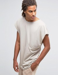 Oversize-футболка без рукавов Granted - Серый