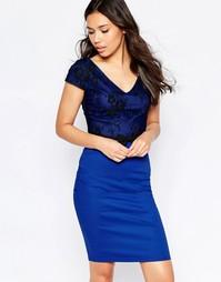 Платье миди с кружевной накладкой и бантиком на талии Paper Dolls - Синий