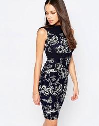 Платье-футляр с цветочным принтом Vesper - Темно-синий