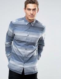 Рубашка узкого кроя из саржи в полоску Esprit - Синий