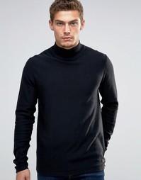 Джемпер со свободным вырезом и открытой кромкой Esprit - Черный