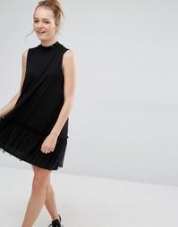 Платье с оборками Monki - Черный