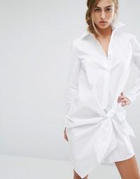 Платье-рубашка с узелком Parallel Lines - Белый