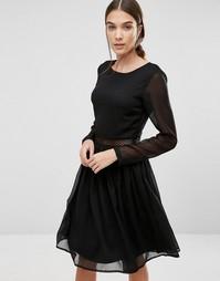 Платье с длинными рукавами и кружевной вставкой Y.A.S Marissa - Черный