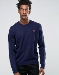 Темно-синий джемпер с круглым вырезом и логотипом Paul Smith - Темно-синий