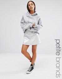 Трапециевидная мини-юбка металлик Boohoo Petite - Серебряный