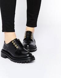 Черные кожаные туфли на плоской подошве H by Hudson Avebury - Черный