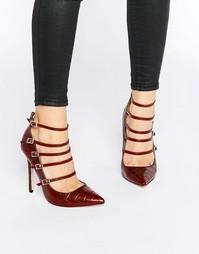 Туфли-лодочки с ремешками и крокодиловым принтом Paper Dolls Hathaway - Красный