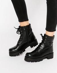 Массивные кожаные ботинки на шнуровке Park Lane - Черный