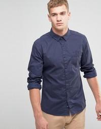 Рубашка классического кроя из хлопка с начесом Esprit - Темно-синий