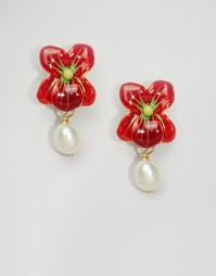 Серьги-подвески с цветочками Les Néréides - Красный