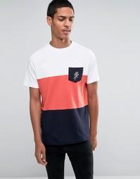 Футболка со вставками и розой на кармане Hoxton Denim - Синий