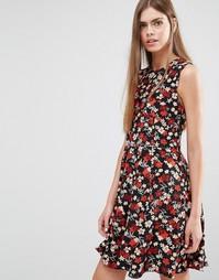 Шелковое платье без рукавов с цветочным принтом PS By Paul Smith - Черный