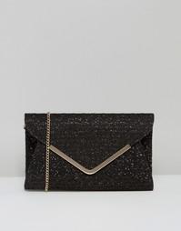 Атласный клатч-конверт с принтом Lotus - Черный