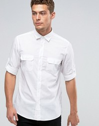 Рубашка с подвернутыми рукавами United Colors of Benetton - Белый