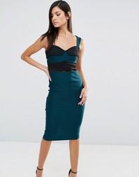 Платье-футляр с отделкой из полиуретана Vesper - Зеленый