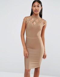 Бандажное платье с высокой горловиной WOW Couture - Рыжий