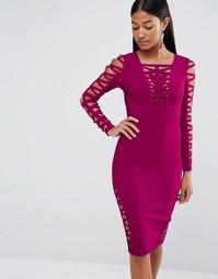 Облегающее платье с вырезами WOW Couture - Розовый