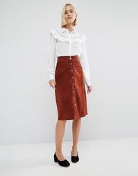 Замшевая юбка на кнопках Gestuz Daya - Коричневый