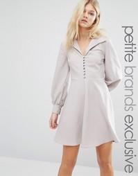 Короткое приталенное платье на пуговицах Alter Petite - Бежевый