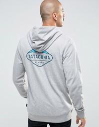 Серое худи слим с логотипом Patagonia Fitz Roy Crest - Серый