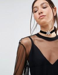 Ожерелье-чокер с кристаллами Swarowski от Krystal - Черный
