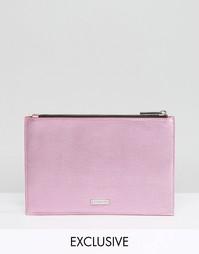Эксклюзивная розовая сумка металлик на молнии Skinnydip - Розовый