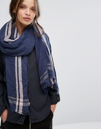Легкий темно-синий шарф с розовой отделкой Pieces - Серый