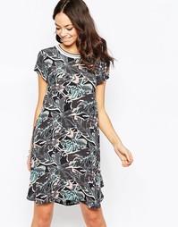 Платье-туника с горловиной в рубчик и принтом Closet - Мульти