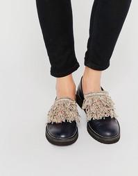 Туфли на плоской подошве с бахромой спереди Miista - Черный