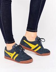 Темно-синие классические кроссовки с желтыми вставками Gola Harrier - Темно-синий