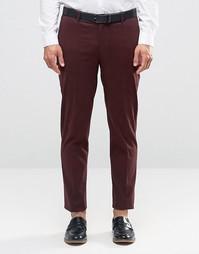 Темно-бордовые зауженные брюки в строгом стиле ASOS - Фиолетовый