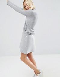 Юбка с жемчужной отделкой ASOS WHITE - Серый