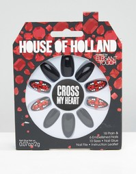 Накладные ногти House Of Holland By Elegant Touch - Cross My Heart - Черный