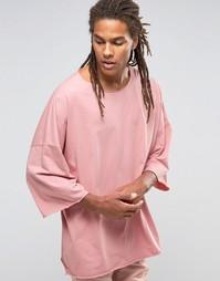 Oversize-футболка с заниженной линией плеч Granted - Розовый