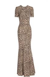 Вечернее платье с леопардовым принтом и глубоким вырезом на спине Givenchy