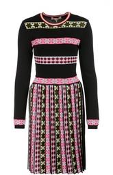 Приталенное мини-платье с контрастным принтом и плиссированной юбкой Emilio Pucci