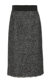 Буклированная юбка прямого кроя с широким поясом Dolce & Gabbana