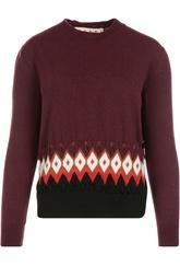 Шерстяной пуловер с круглым вырезом и контрастным узором Marni