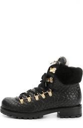 Кожаные ботинки с декором Roberto Cavalli