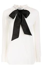 Шелковая блуза прямого кроя с контрастным воротником аскот Valentino