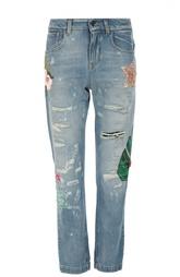 Джинсы прямого кроя с потертостями и декоративной вышивкой Dolce & Gabbana
