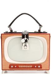 Сумка Dolce Box Retro TV с отделкой из кожи змеи Dolce & Gabbana