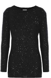 Удлиненный пуловер с круглым вырезом и пайетками Saint Laurent